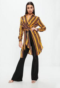Orange Stripe Long Line Knot Front Blouse
