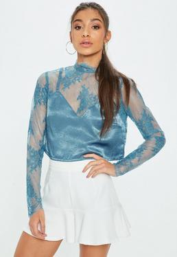 Blue Cami Insert Lace Crop Top