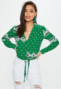 Green Paisley Button Tie Front Shirt
