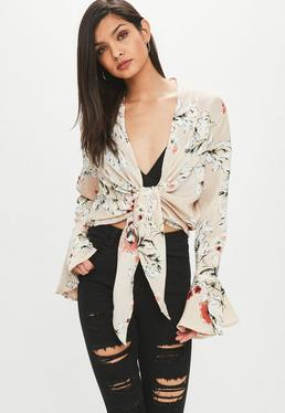 Cream Flared Sleeve Floral Knot Front Blouse