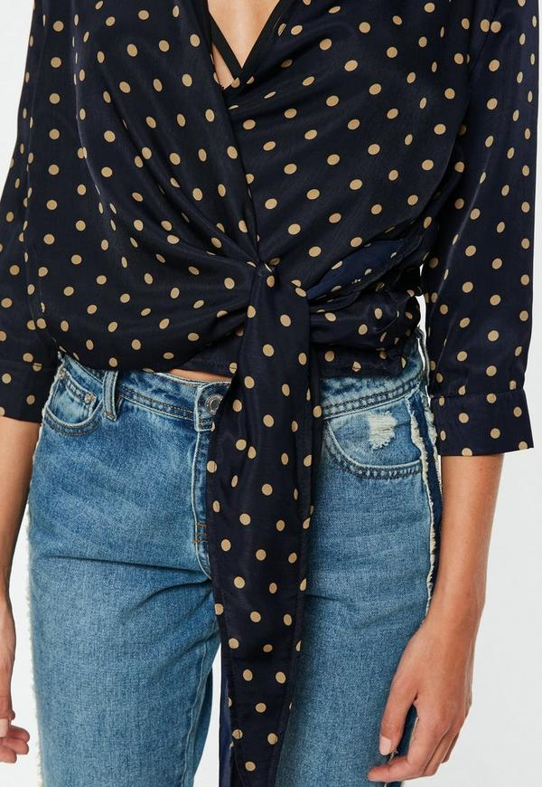 Navy Polka Dot Wrap Over 3 4 Sleeve Tie Side Blouse