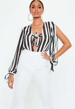 White Tie Front Split Sleeve Bodysuit