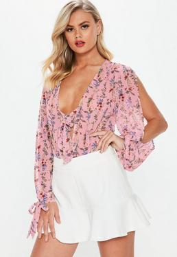 Pink Tie Front Split Sleeve Bodysuit
