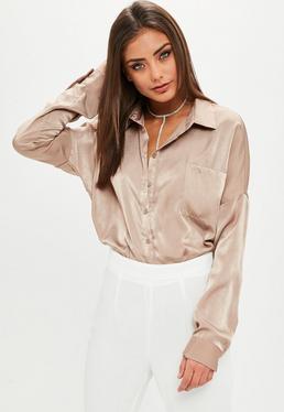 Beige Basic Satin Shirt