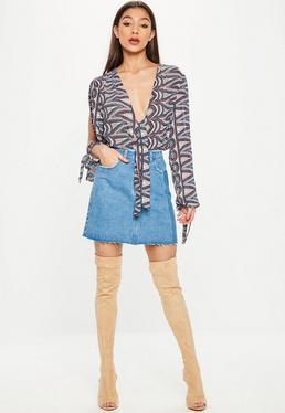 Blue Split Sleeve Tie Bodysuit