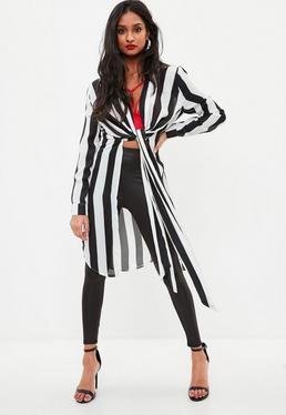 White Twist Front Long Line Stripe Shirt