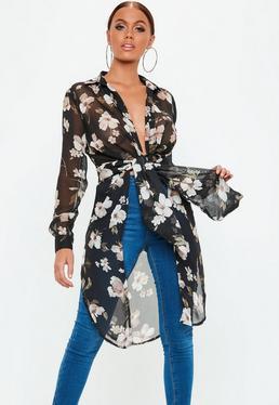 Black Floral Plunge Tie Front Blouse