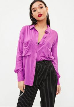 Purple Oversized Safari Shirt