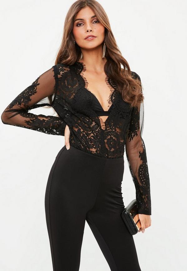 Black Lace Long Sleeve Plunge Bodysuit Missguided Ireland
