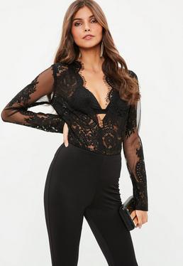Black Lace Long Sleeve Plunge Bodysuit