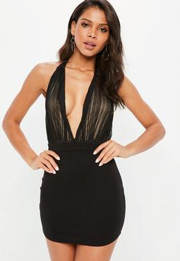 Black Crinkle Chiffon Bodysuit