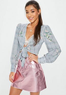 Grey Blossom Check Tie Print Blouse