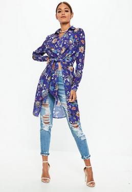 Blue Floral Print Long Line Tie Front Shirt