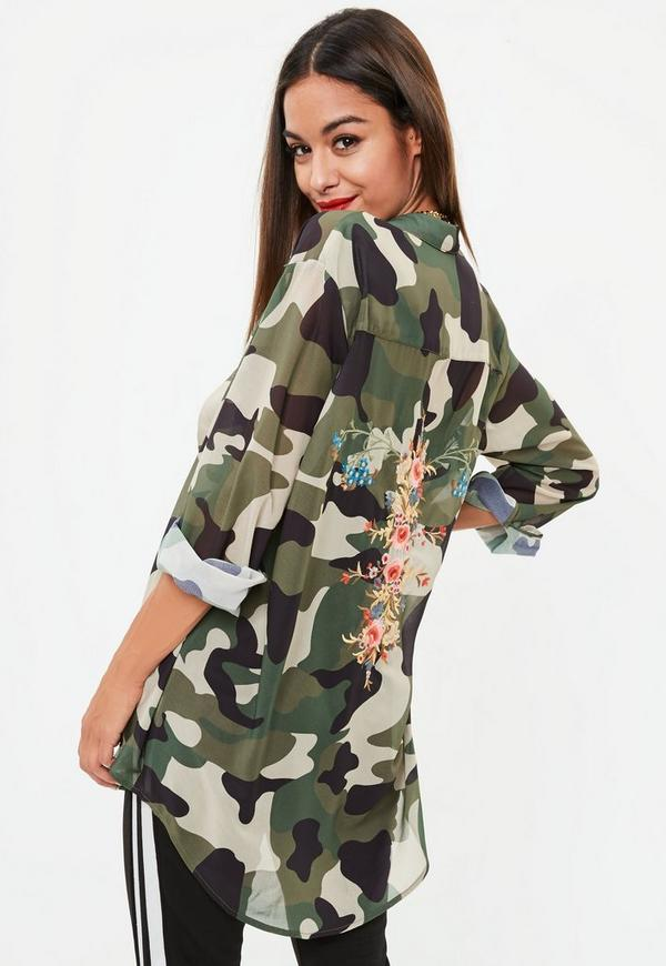Khaki Camo Print Floral Embroidered Shirt by Missguided