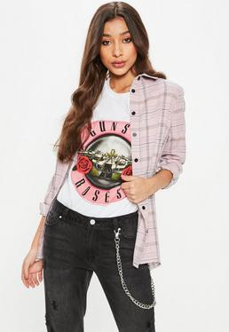 Pink Mono Plaid Shirt