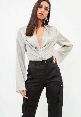 Silver Drape Plunge Bodysuit