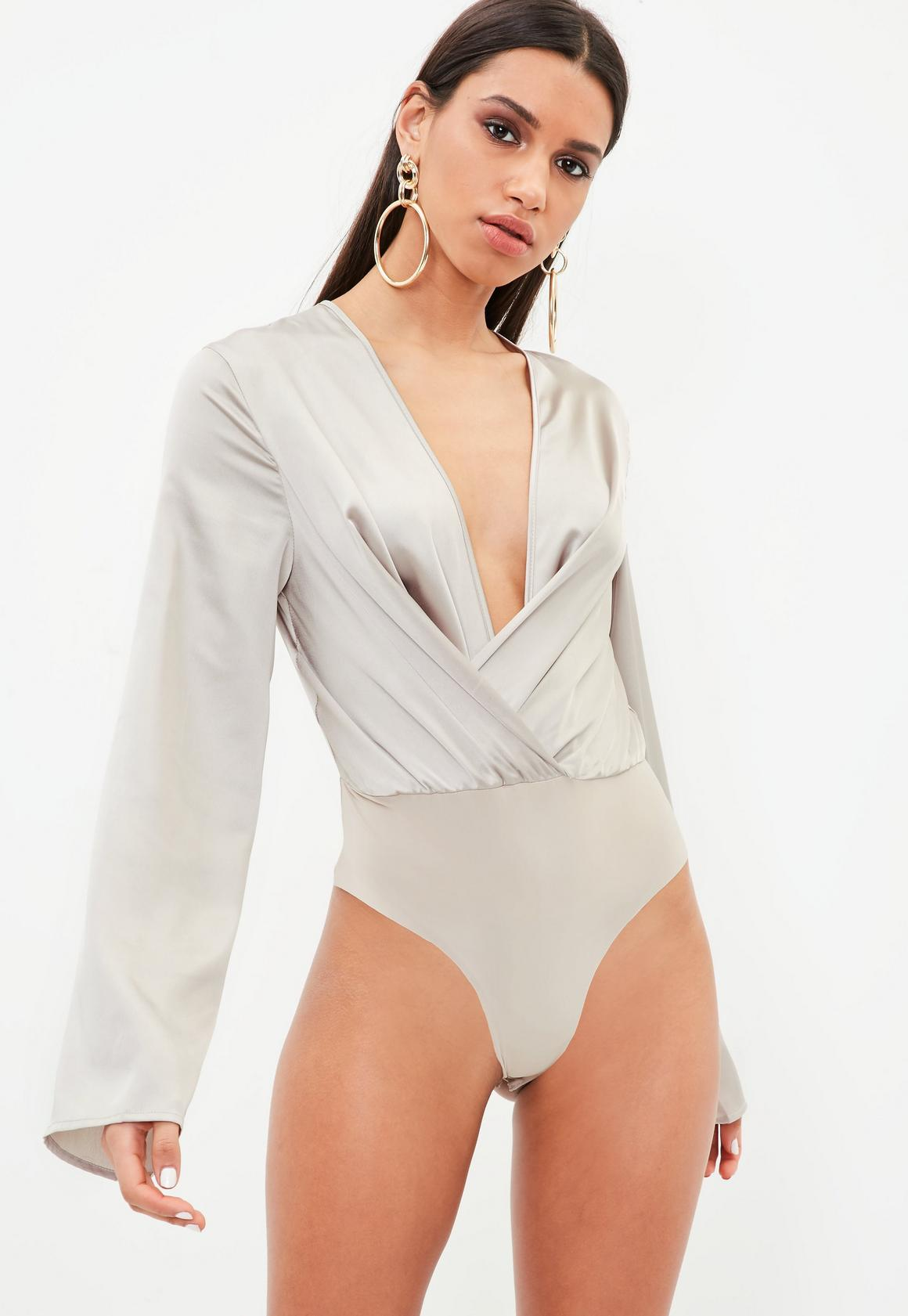 c5c8fbc7a5e9 Missguided Silver Drape Plunge Flare Sleeve Bodysuit, Grey at £22 ...