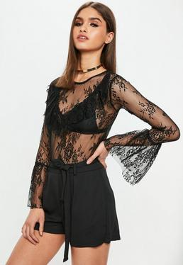 Black Lace Bell Sleeve Bodysuit