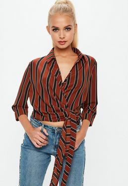 Red Wrap Over Tie Side 3/4 Sleeve Blouse