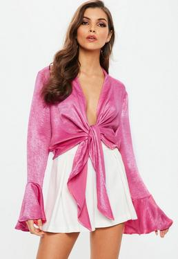 Pink Flared Sleeve Tie Front Top