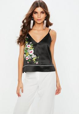 Black Satin Piped Embroidered Cami Top