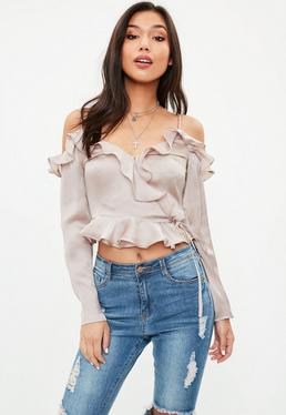 Beige Dobby Satin Cropped Top