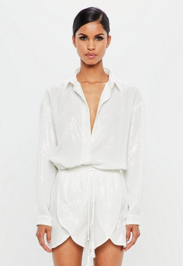 Peace + Love White Sequin Shirt by Missguided