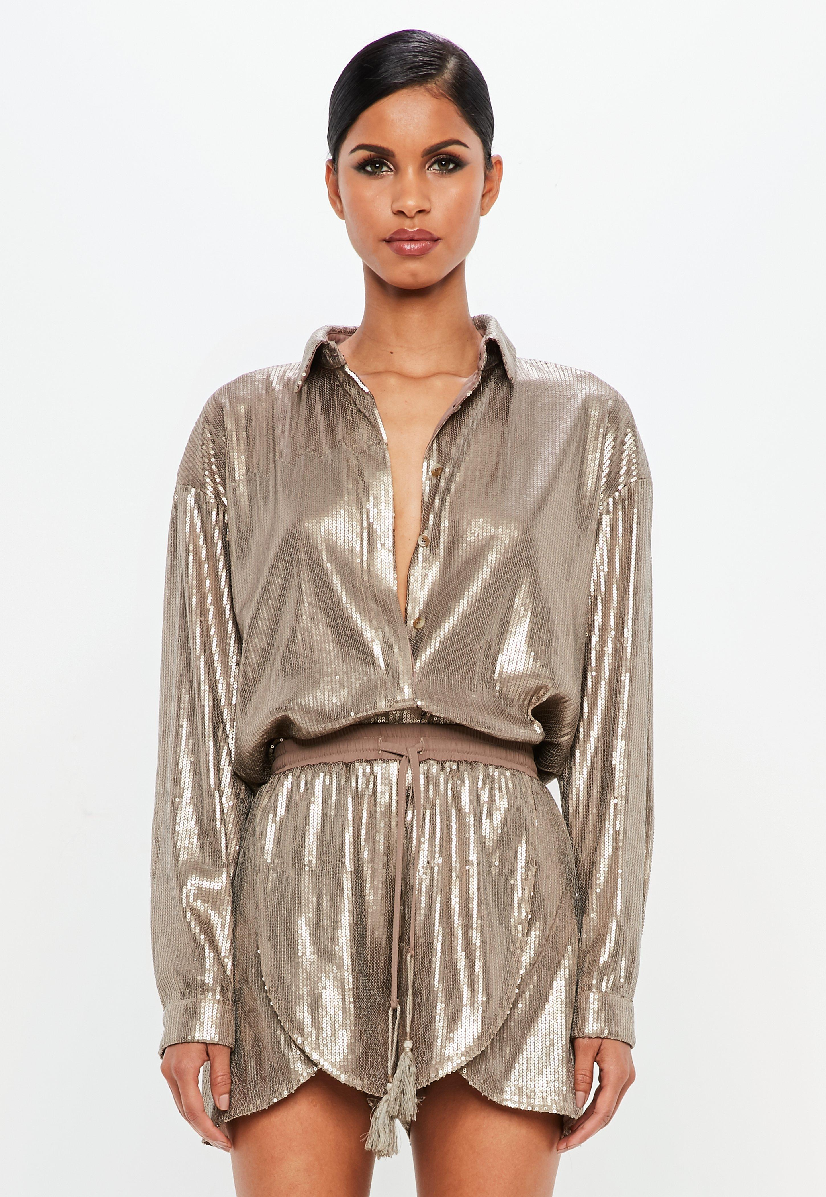 ae04464df8b Silver Sequin Blouse Online