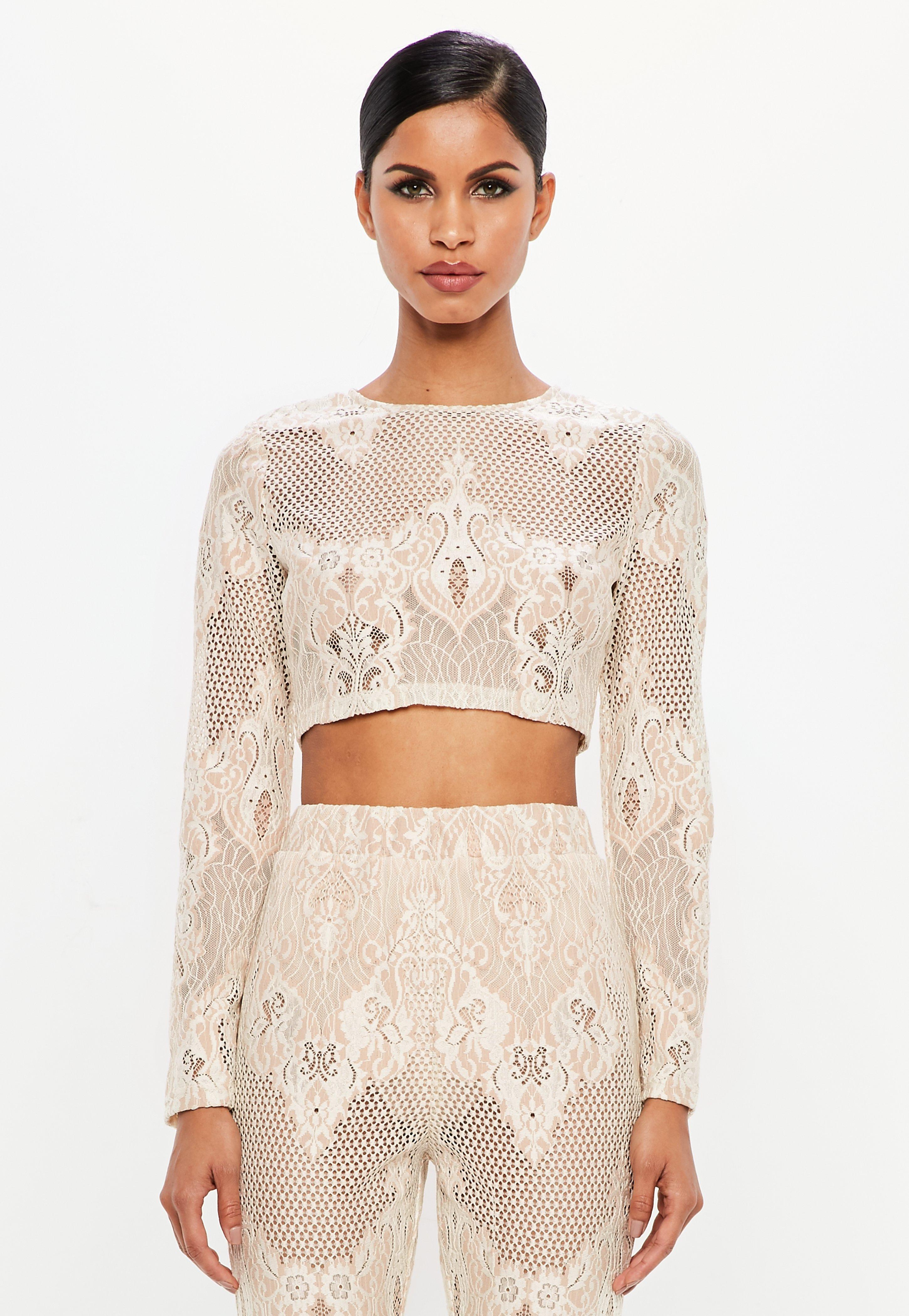 8f77f04de80 Peace + Love Nude Lace Long Sleeve Crop Top | Missguided Australia