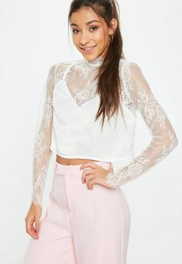 White Cami Insert Lace Crop Top