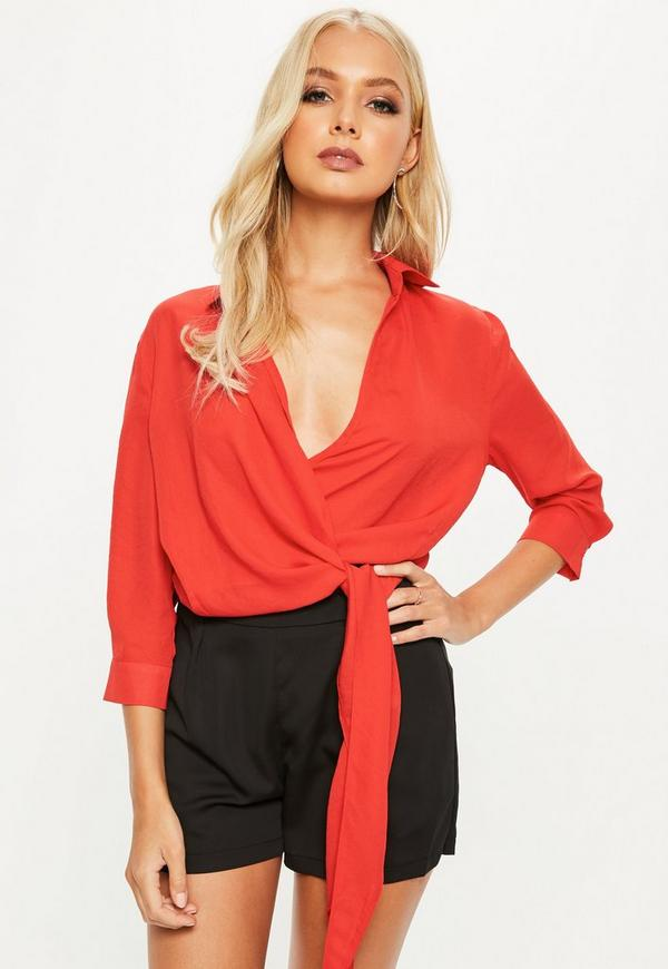 Red Wrap Over 3/4 Sleeve Tie Side Blouse by Missguided