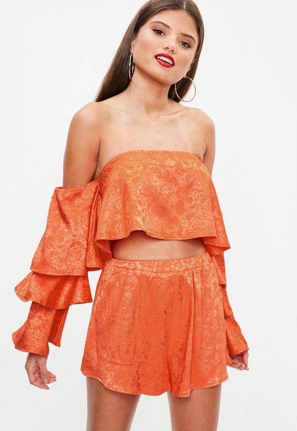 Orange Jacquard Bardot Frill Sleeve Crop Top by Missguided