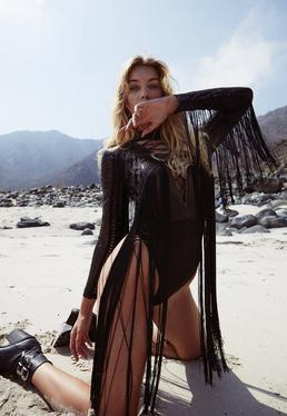 Black Fringe Sequin Plunge Bodysuit