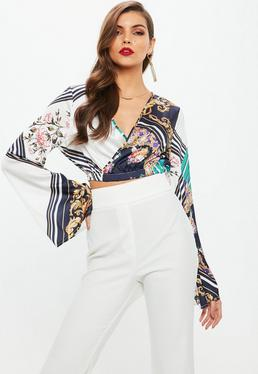 Blue Satin Wrap Over Crop Flare Sleeve Blouse