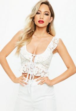 Cream Lace Frill Crop Top