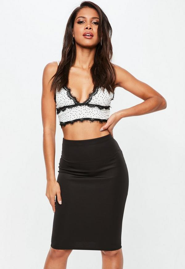 White Polka Dot Lace Trim Bralet by Missguided