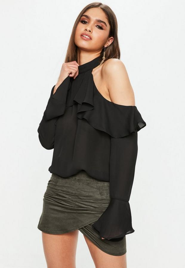 Product photo of Black cold shoulder frill blouse black