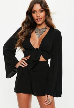 Black Tie Front Crop Top 07a805868