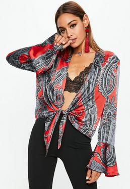 Red Bell Sleeve PaisleyTie Front Blouse