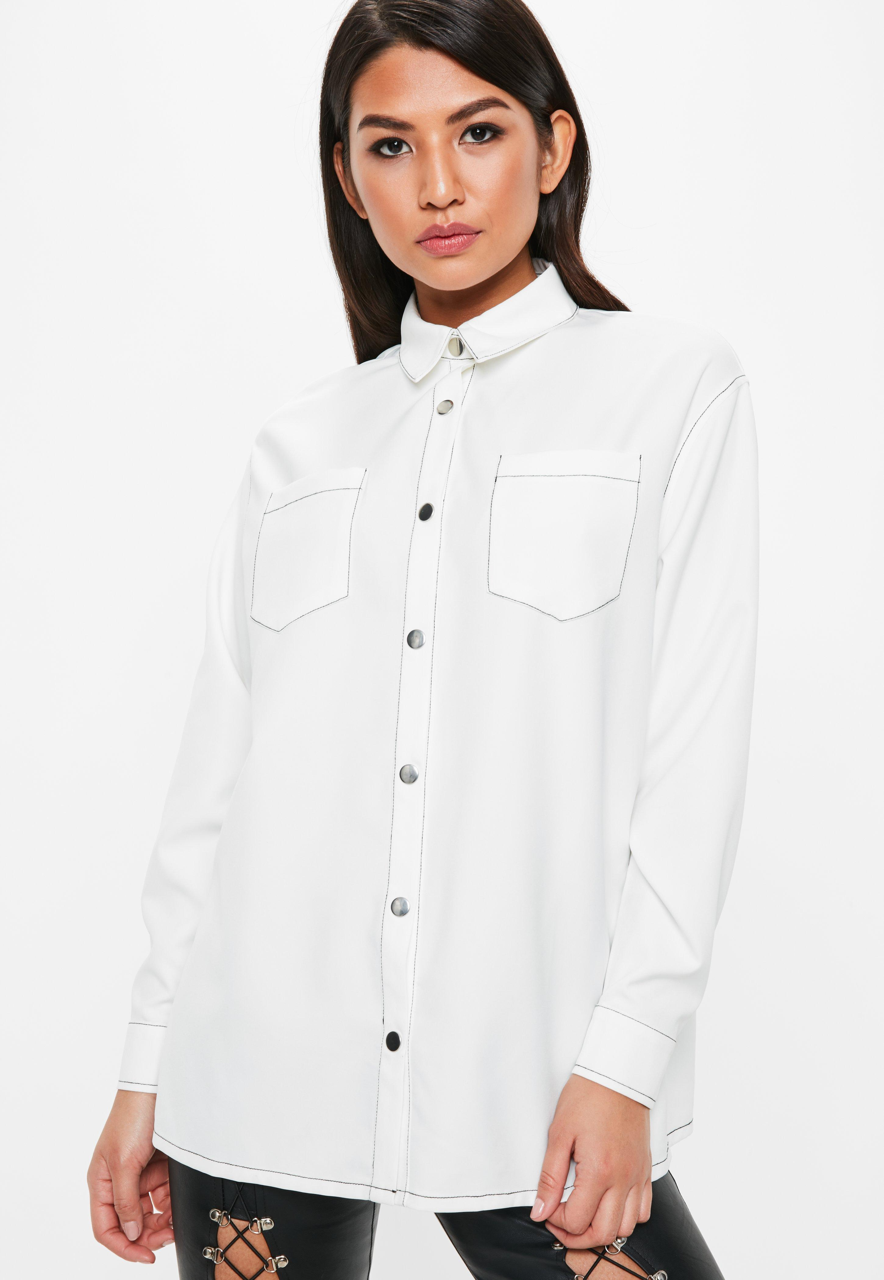 Missguided Long Sleeve Contrast Stitch Shirt Cheap Sale From China Cheap Sale Low Cost Buy Cheap 2018 Newest Genuine Order For Sale BE2N3v
