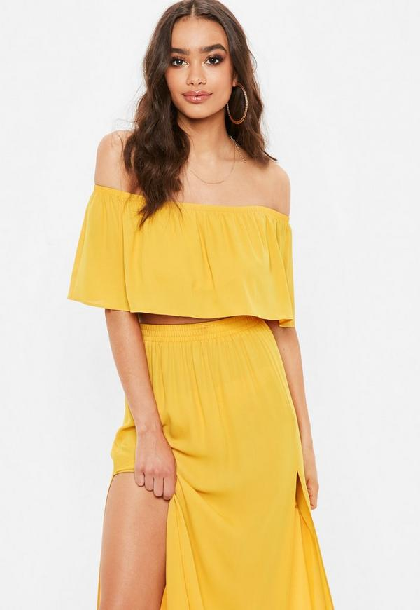 42af982e9c3e Shoptagr | Yellow Frill Bardot Crop Top by Missguided