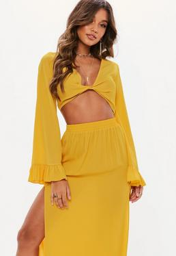 4b4be4a7272e8 ... Mustard Yellow Twist Front Flared Sleeve Crop Top