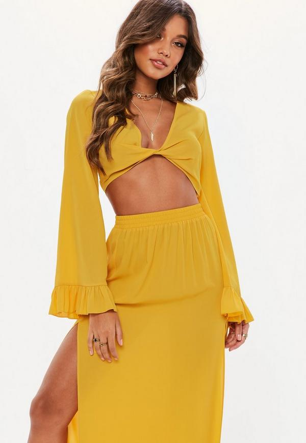11a65f54bb69d Mustard Yellow Twist Front Flared Sleeve Crop Top