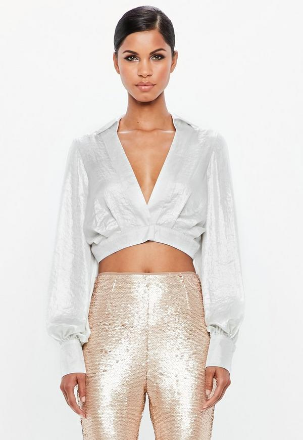 Peace + Love Silver Metallic Cropped Wrap Blouse by Missguided