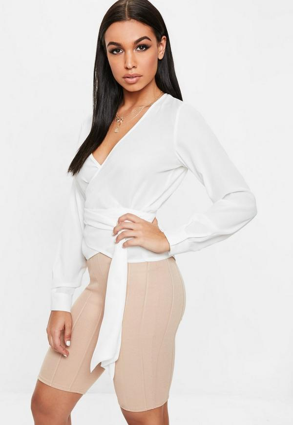 White Multi Wrap Tie Side Blouse by Missguided