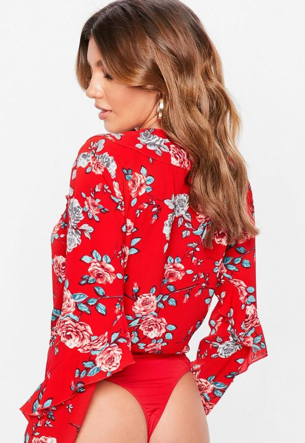 2e9861e71c06 Red Floral Wrap Front Frill Bodysuit   Missguided Australia