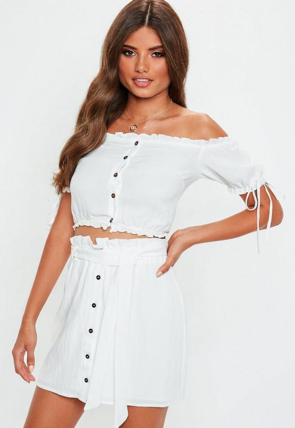 White Linen Button Through Bardot Crop Top by Missguided