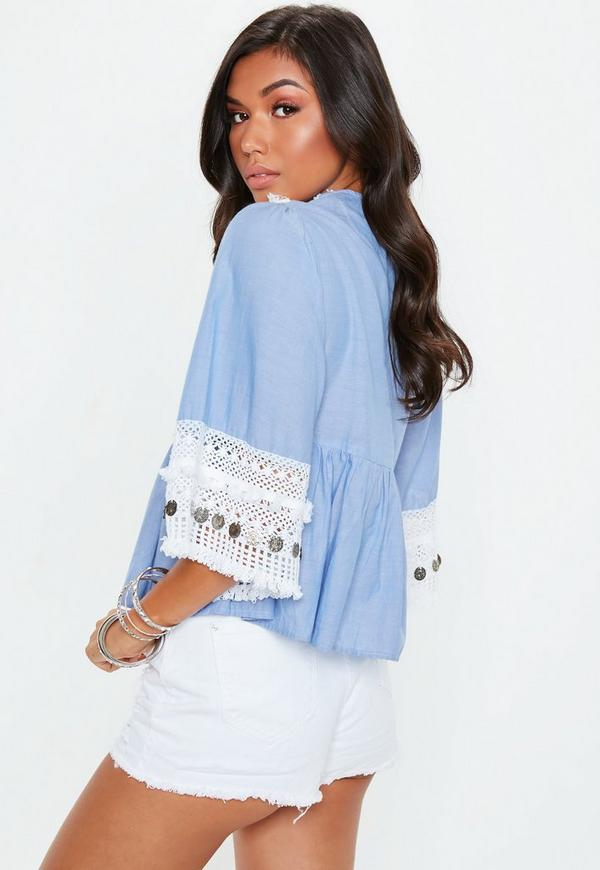 Blue Tassel Coin Chambray Top by Missguided