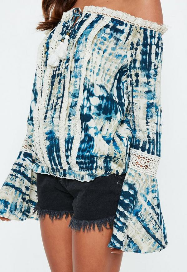 Navy Tie Dye Crochet Tassel Bardot Blouse by Missguided