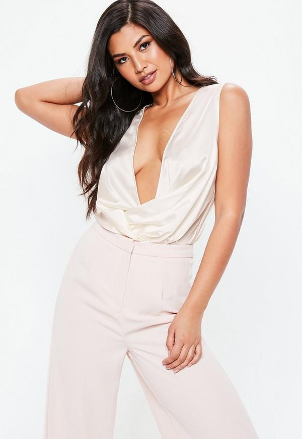 Cream Sleeveless Drape Plunge Bodysuit. Was €25.00. Now €14.00 (44% off).  Previous Next d621a8009